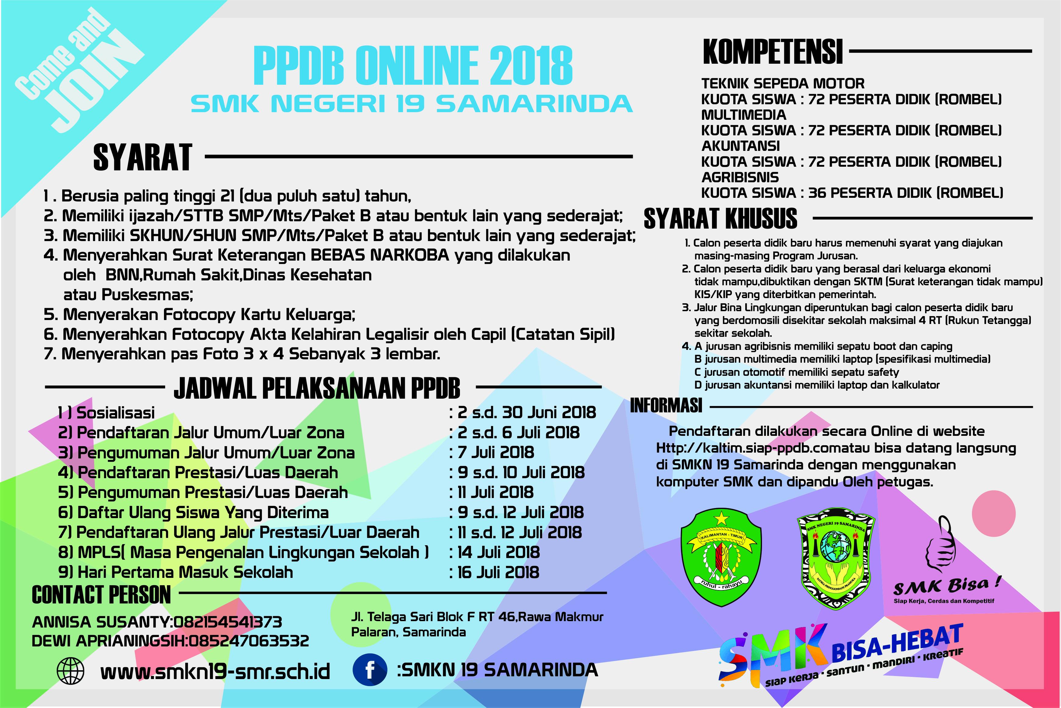 Jadwal Terbaru Pelaksanaan Penerimaan Peserta Didik Baru Di SMKN19 Samarinda