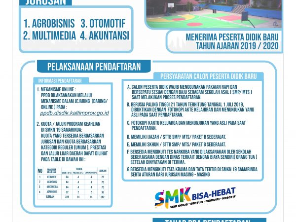 Jadwal Pelaksanaan Penerimaan Peserta Didik Baru Tahun Ajaran 2019/2020 Di SMKN19 Samarinda